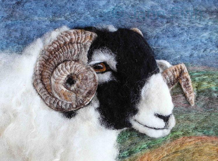 Greetings card from a Swaledale ram fibre art portrait