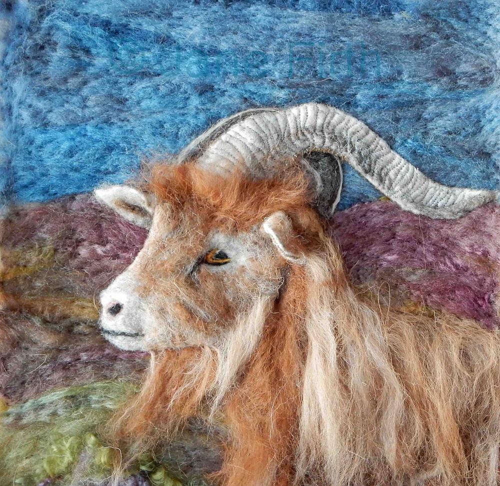 Needle felted Golden Guernsey billy goat portrait