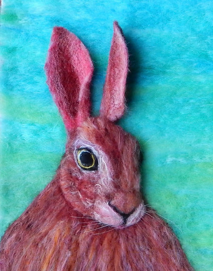 Multicoloured Fibre Art Hare