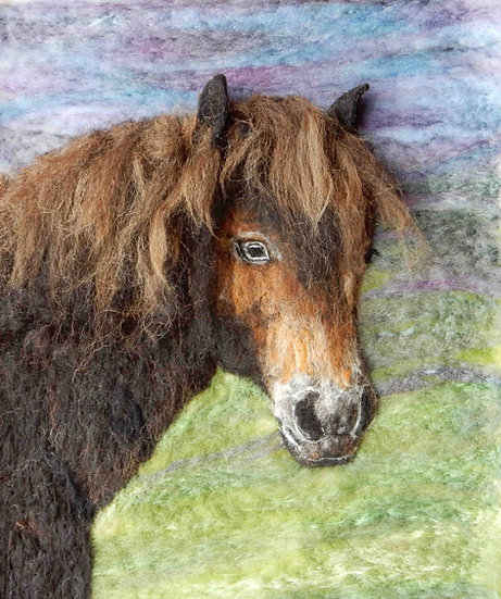 Greetings card from a fibre art portrait of an Exmoor pony