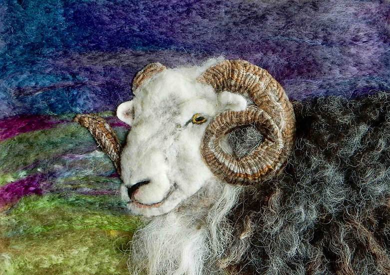 Herdwick ram fibre art sheep portrait