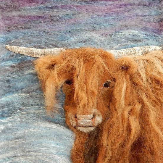 Highland cow fibre art portrait