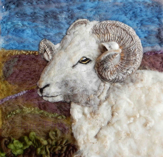 Wiltshire Horn fibre art sheep portrait