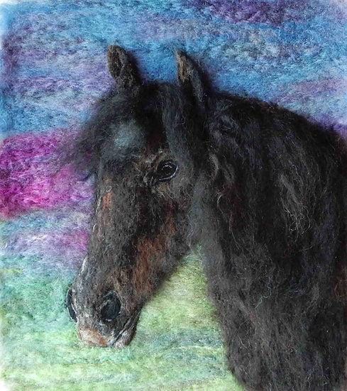 Fibre art portrait of Isobel the Fell pony