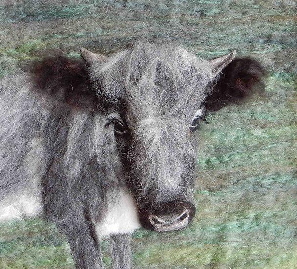 Alice the Albion fibre art cow portrait