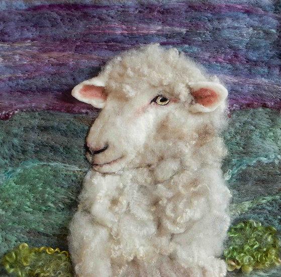 Targhee fibre art sheep portrait