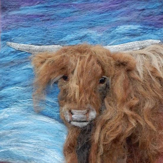 Fibre art Highland Cow portrait