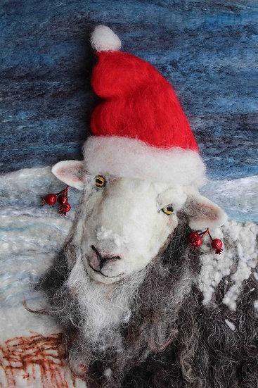 Christmas card of a fibre art Herdwick ewe with Santa hat