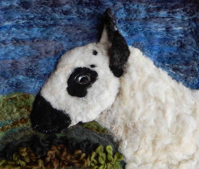Kerry Hill fibre art sheep portrait