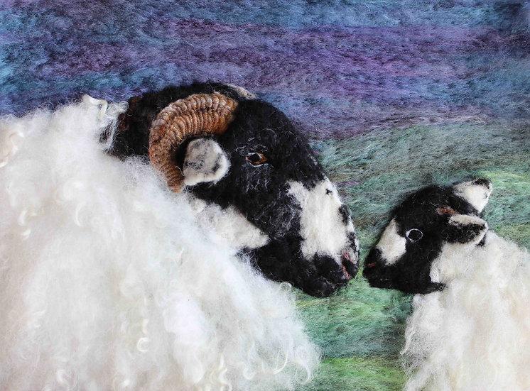 Fibre art portraits of a Rough Fell ewe and lamb