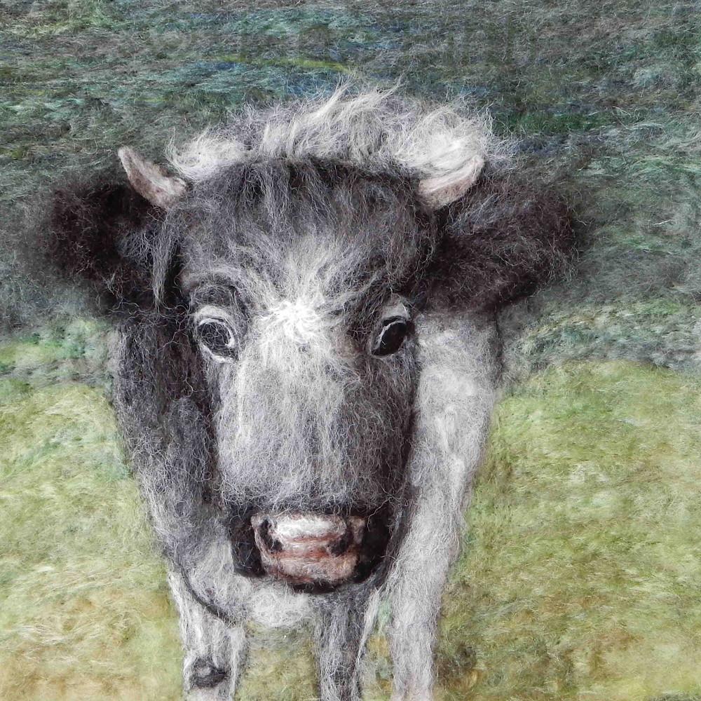 Fibre art portrait of Alice the Albion, Cotswold Farm Park
