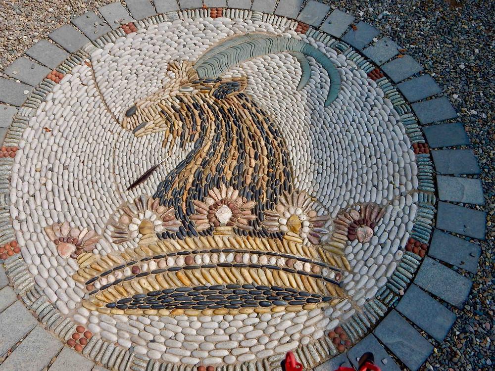 Bagot goat mosaic at Levens Hall, photo: Jane Firth