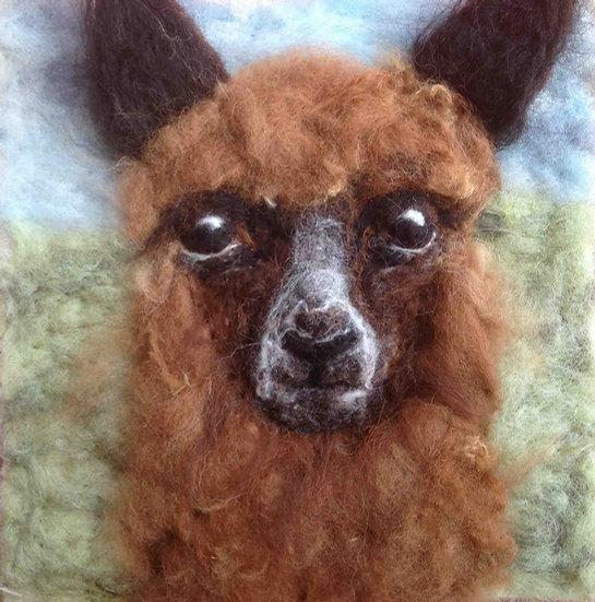 Alpaca fibre art portrait