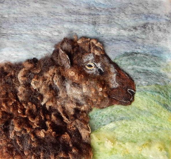 Finn sheep fibre art portrait