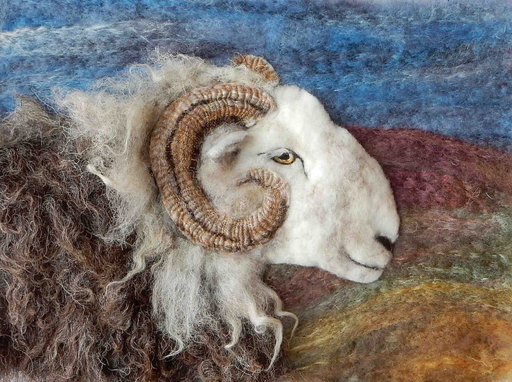 Fibre art portrait of Herdwick ram
