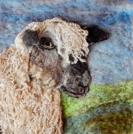 Wensleydale fibre art sheep portrait