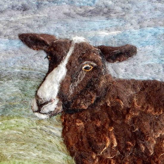 Zwartble fibre art sheep portrait