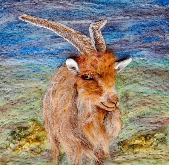 Golden Guernsey goat portrait