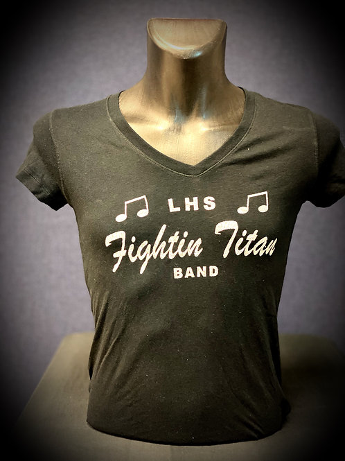 Female Black/Silver Glitter V-Neck
