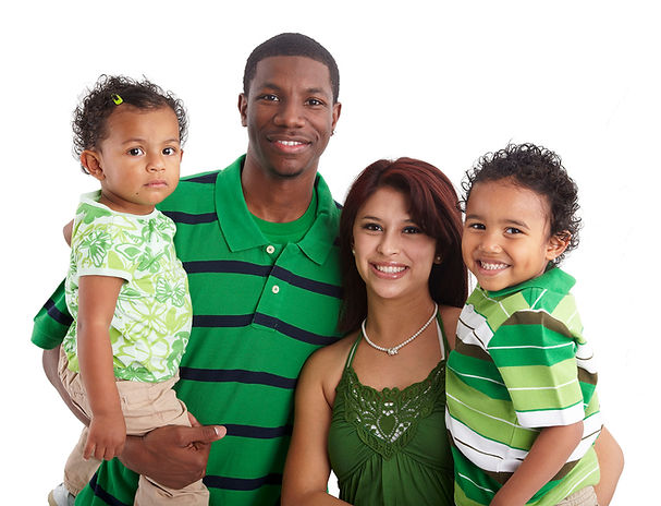 Healthy diverse family of color