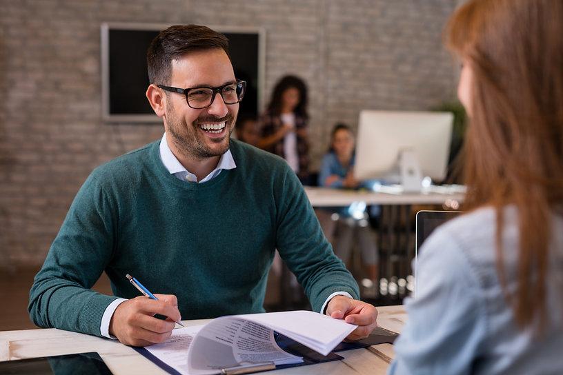 Job interview, businessman listen to can