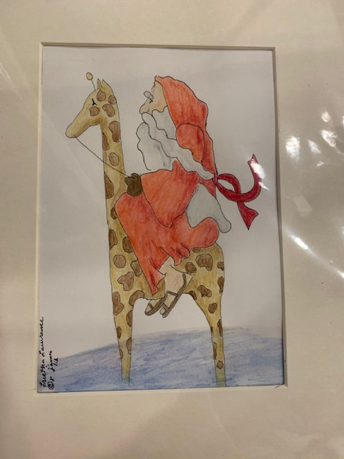 Santa and a Giraffe  by Frietha Lawerence