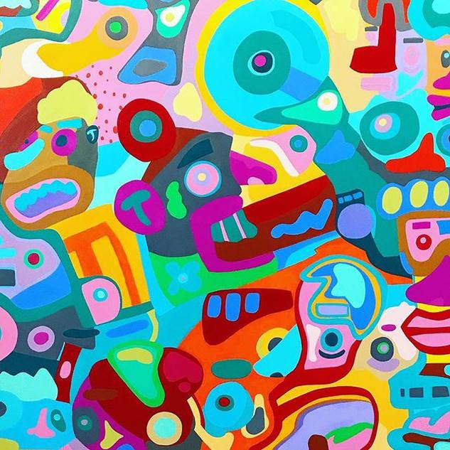 Peanut Gallery-Acrylic on 36x36in canvas