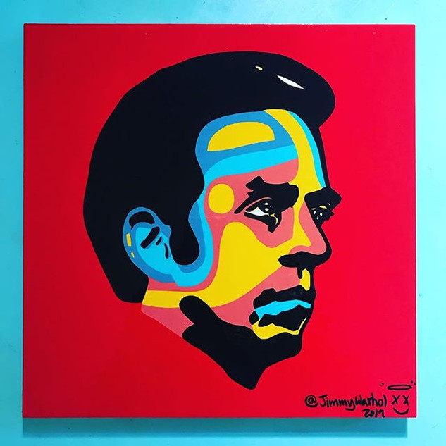 Andrew Jackson Young-acrylic on 12x12in canvas
