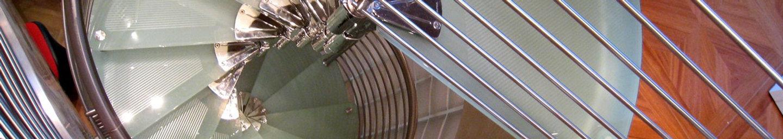 ufficio bm scala chiocciola vetro vetrocemento