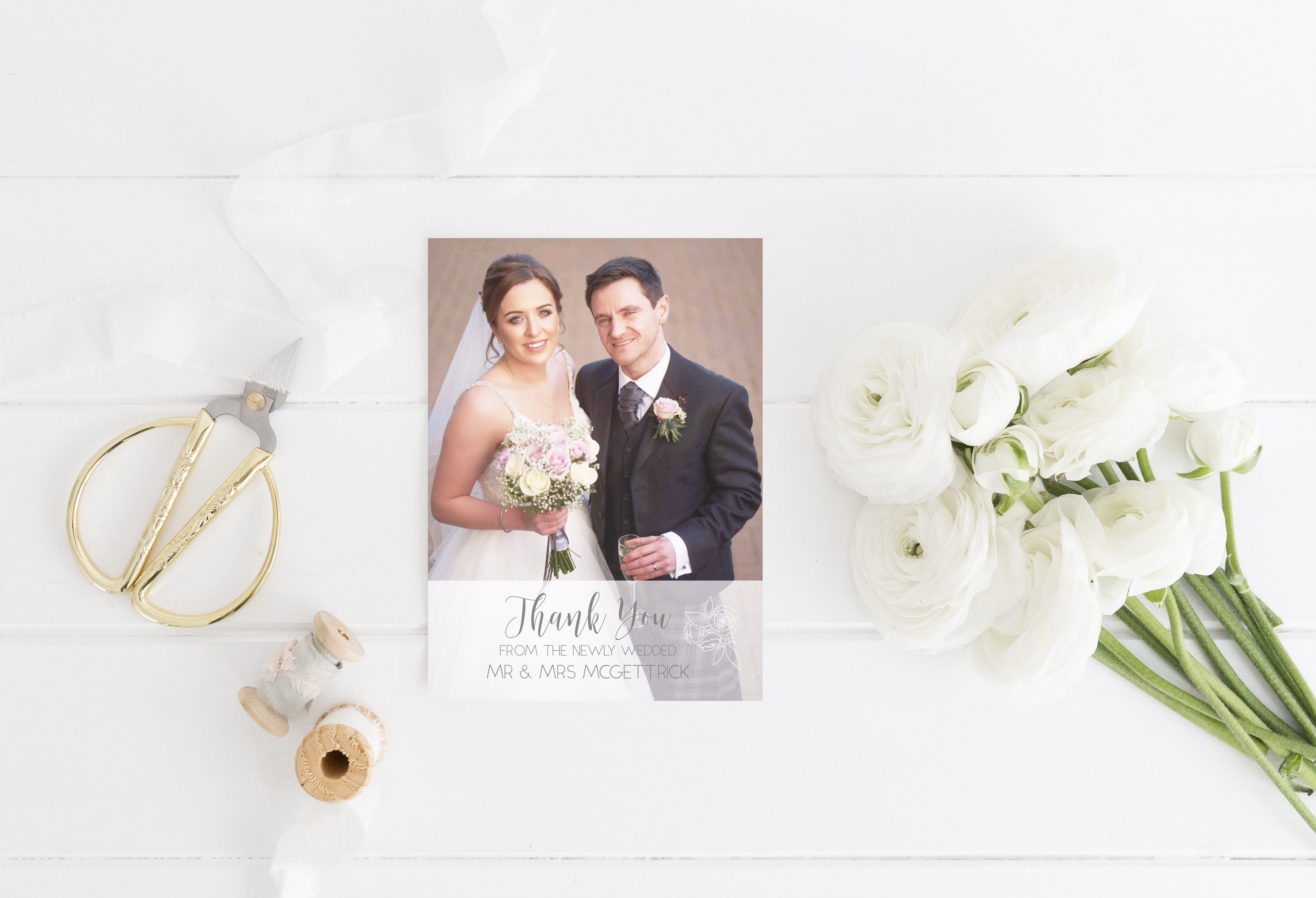 Thank You Card Wedding Stationery White Flowers