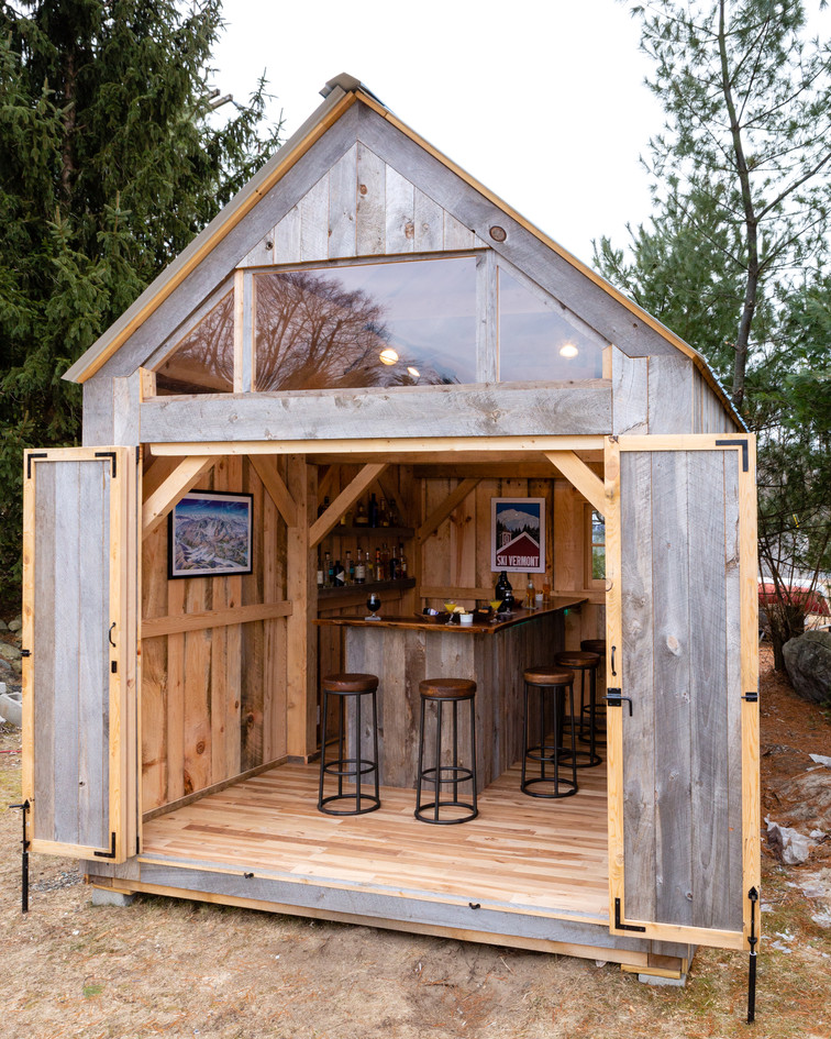 Pub shed with open doors