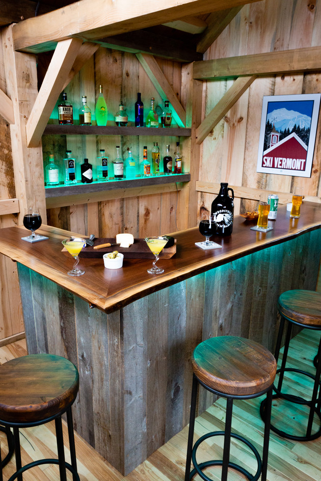 Live edge bar lit up in pub shed