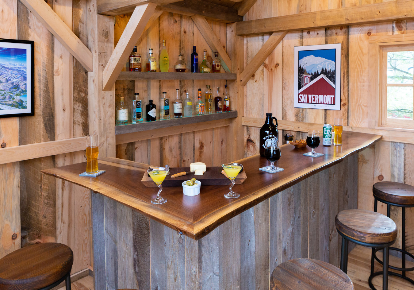 Live edge bar in pub shed