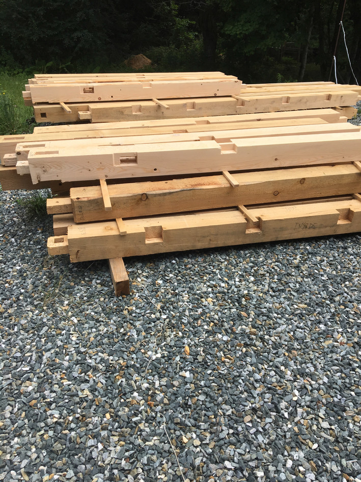 Timber frame elements ready to ship