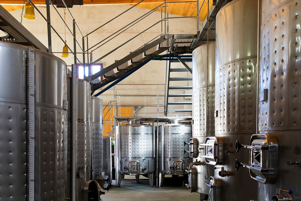 Stainless steel tanks at Son Vich de Superna