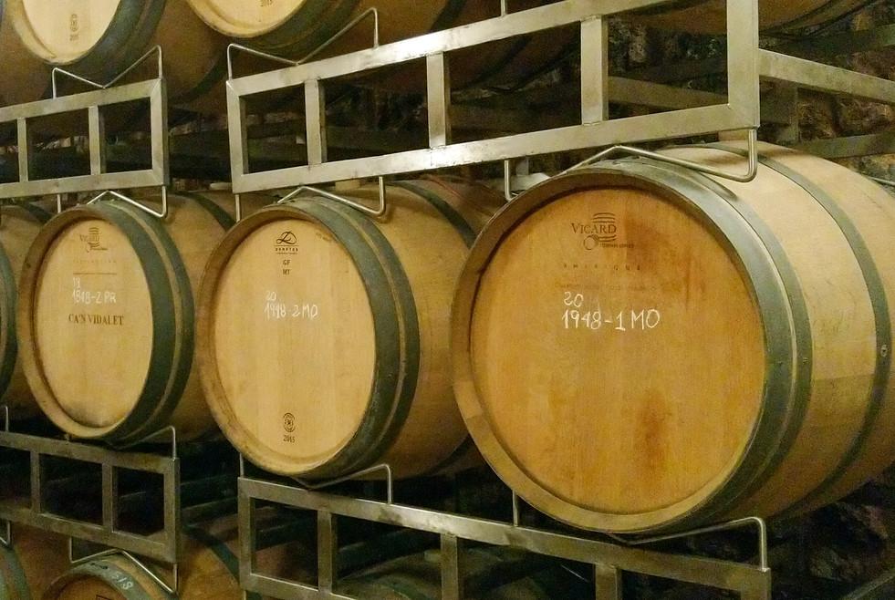 Barrels aging at Can Vidalet