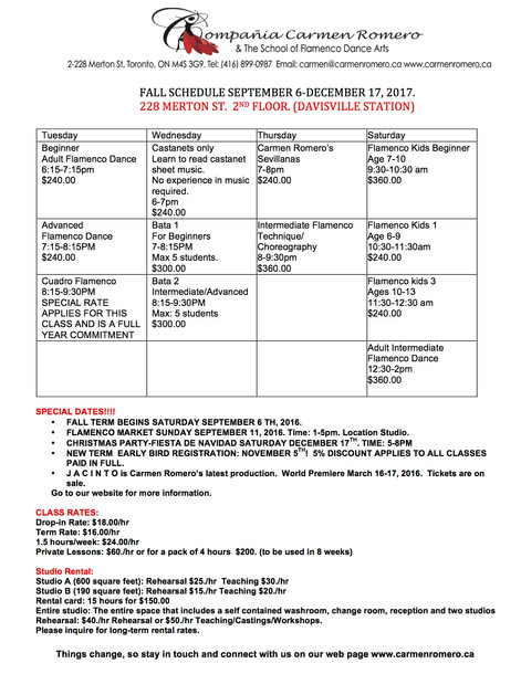 Fall Flamenco Class Schedule is OUT!!!