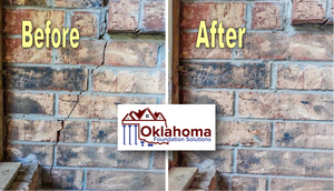 Before and After Oklahoma Foundation Solutions, LLC's Foundation Repairs Brick Wall Improvement
