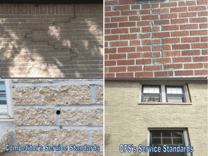 Side-by-side comparison of multiple foundation repair jobs completed by competitors and by Oklahoma Foundation Solutions