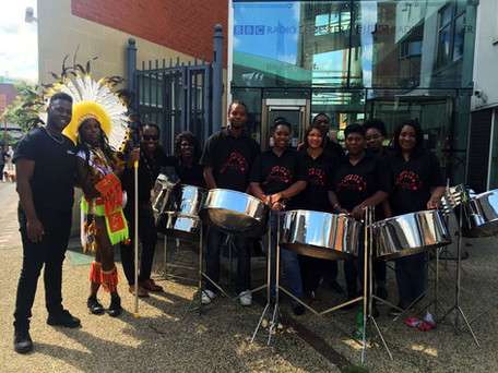 Pre-carnival performance for BBC Radio Leicester with Kevin Ncube, Athan Martin & Charis Betts