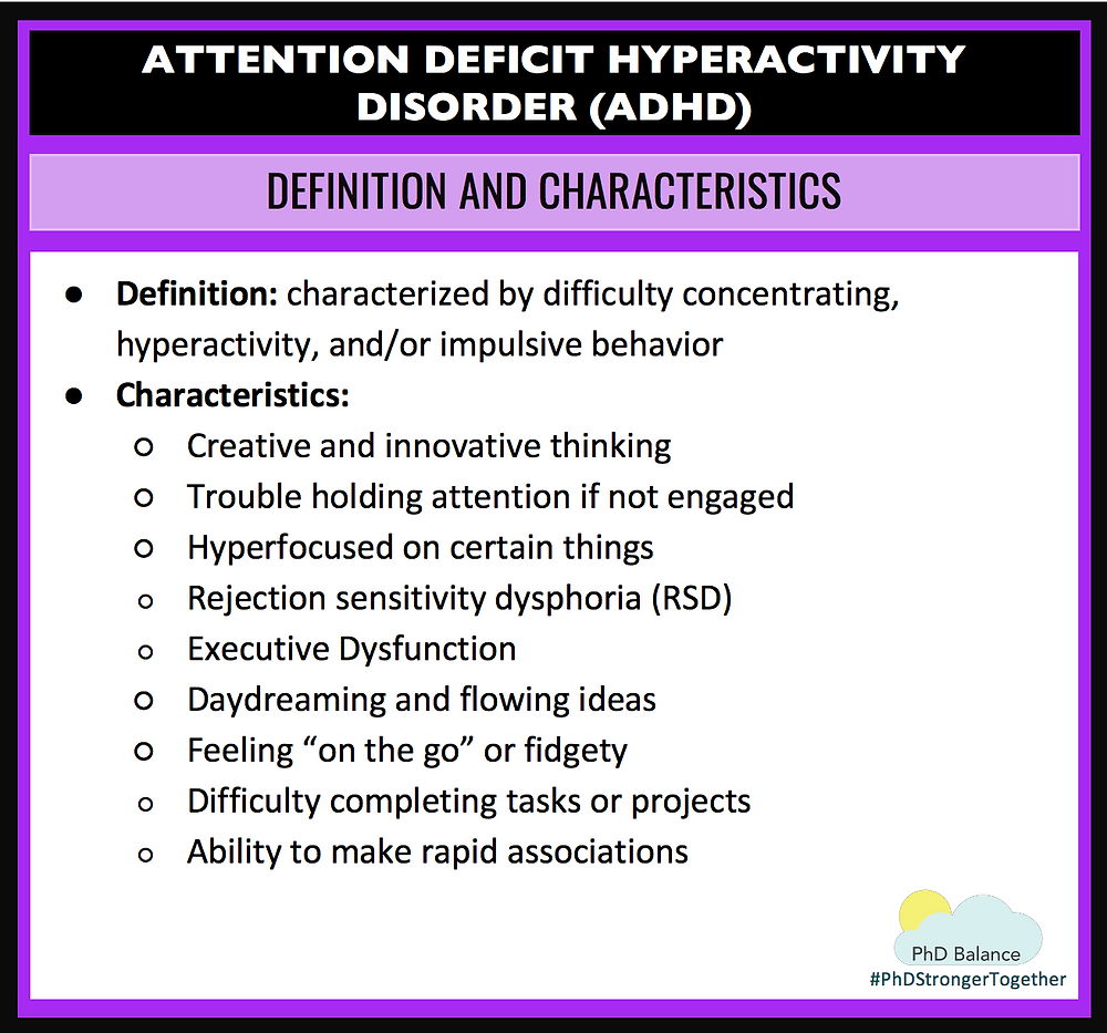 ADHD Graphic on Definition and Chatacteristics - all text in post.
