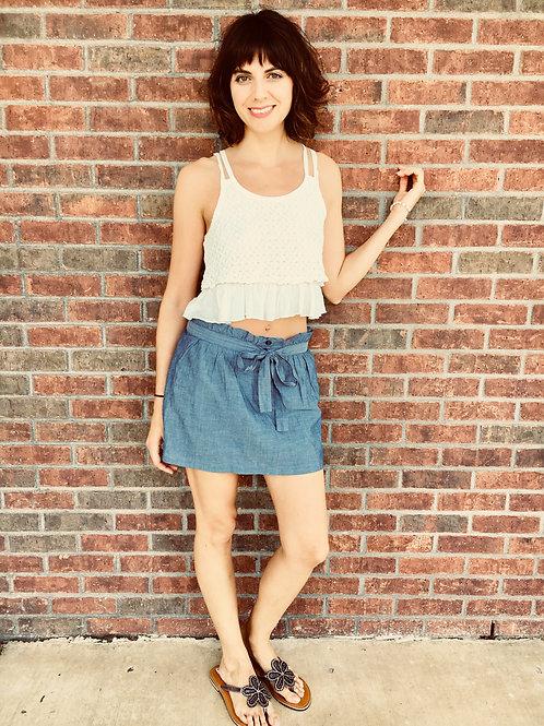 Light Denim skirt w/tie at waist, ruffled tank top, embellished sandals