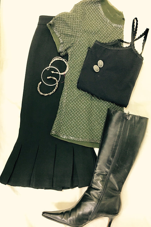 Black skirt, sage embellished shirt, black tank w/piping,black heeled boots