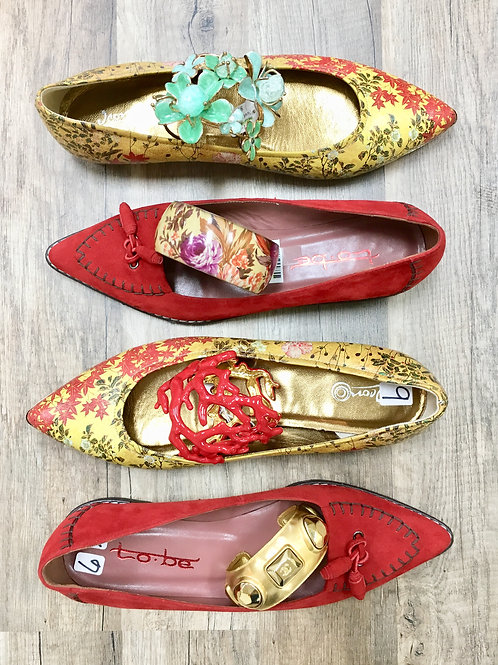 Oriental print flats, Red flats, Chanel gold cuff, mint cuff, floral bangle