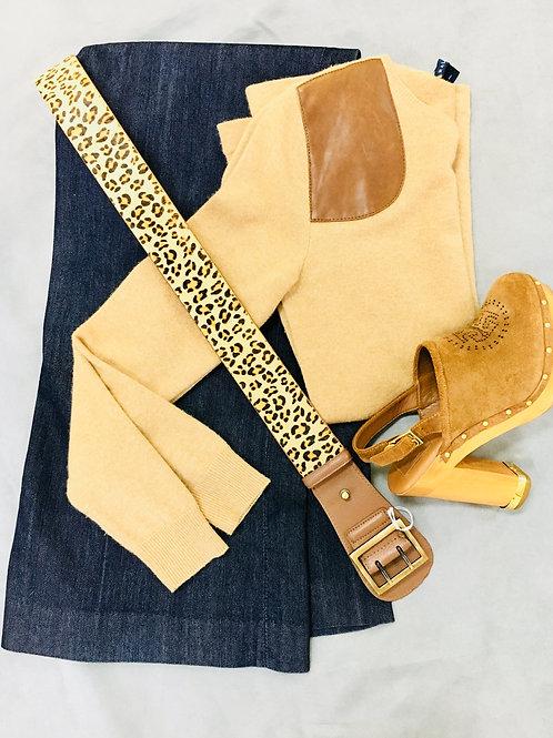 Ralph Lauren sweater, Ellen Tracy denim trousers, Tory Burch clogs, belt