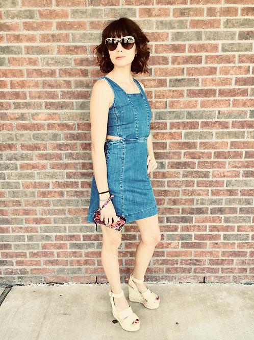 Denim dress w/cut outs, wedged sandals, Gucci sunglasses