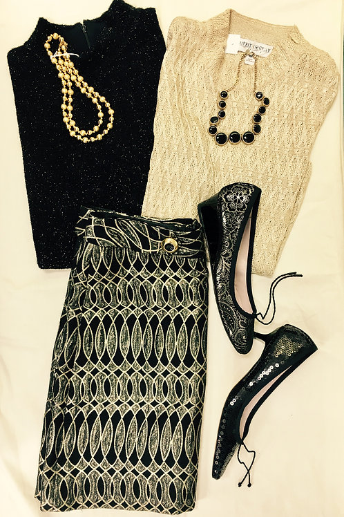 Shiny black & gold mini skirt, matching sparkle sweaters, sequined flats