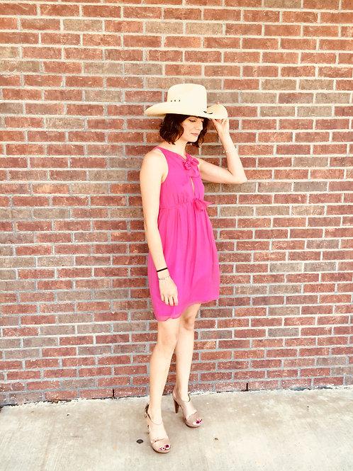 Pink Lilly sundress, heeled camel sandals, sunhat