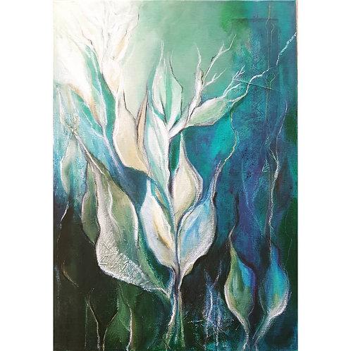 Canna Blues - Mixed Media on Canvas
