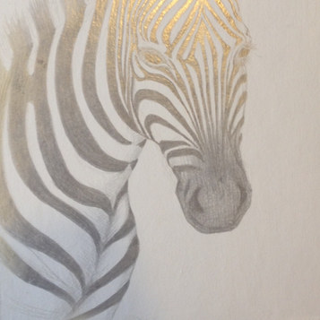 Zebra. Silverpoint on Board